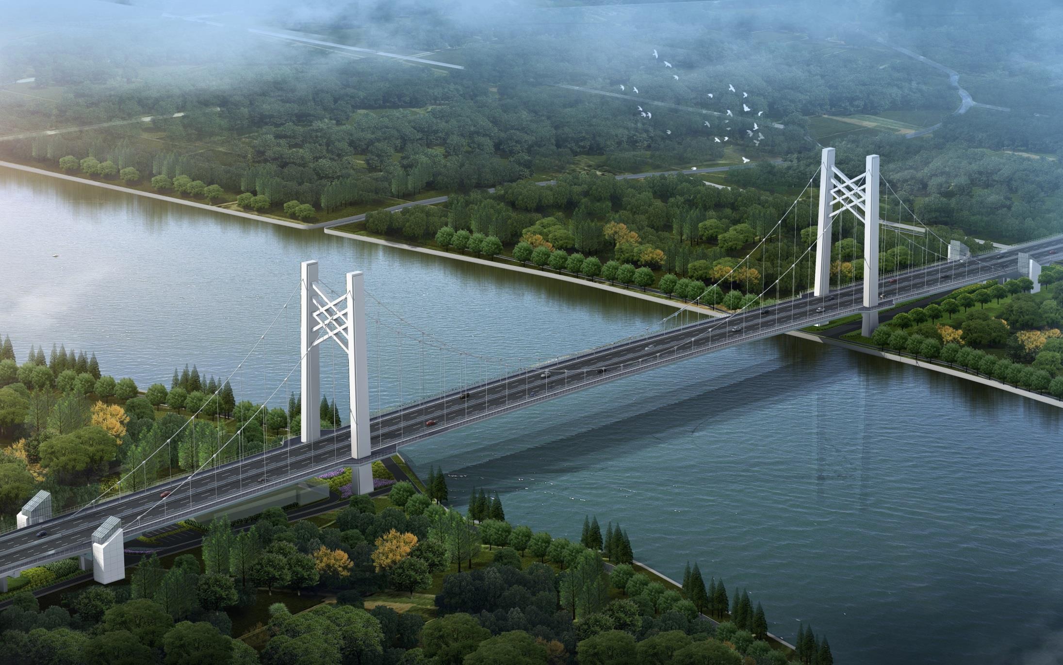 黄浦江上首座悬索桥正式开工!嘉松公路越江大桥建成后市民可直接骑行至对岸!